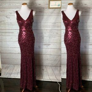 NWT city triangles maroon sequin mermaid gown 1 Xs
